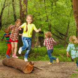 67160670 - portrait of cute little kids playing on a log, walking, jumping and balancing in the forest